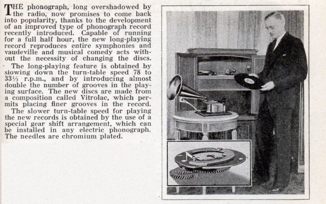 1932 New Phonograph Record Plays Half Hour Music Program