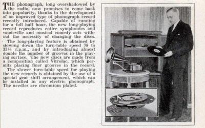 1932 New Phonograph Record Plays Half Hour Music Program