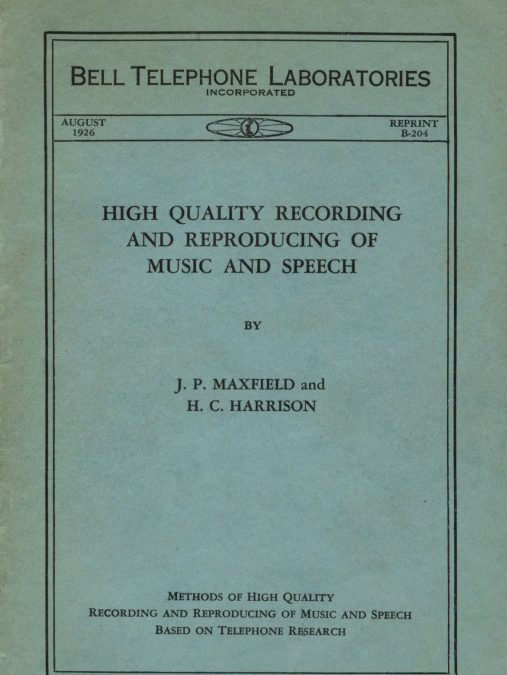 High Quality Recording and Reproducing of Music and Speech